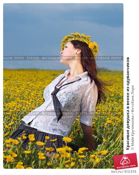 Купить «Красивая девушка в венке из одуванчиков», фото № 313515, снято 14 мая 2008 г. (c) Майя Крученкова / Фотобанк Лори