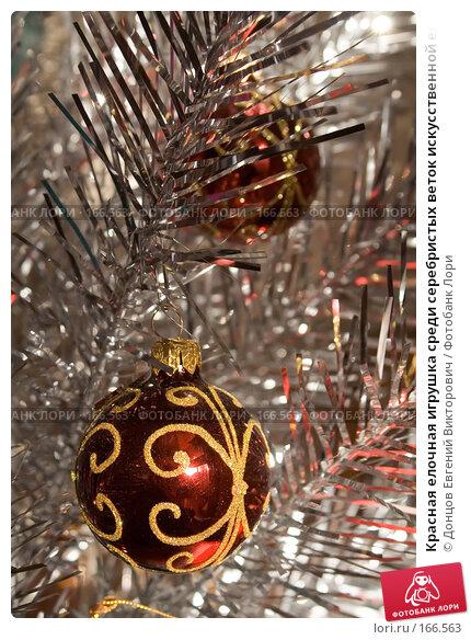 Купить «Красная елочная игрушка среди серебристых веток искусственной елки», фото № 166563, снято 5 января 2008 г. (c) Донцов Евгений Викторович / Фотобанк Лори