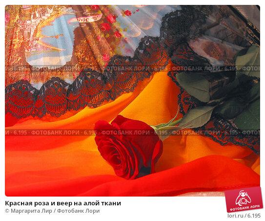 Красная роза и веер на алой ткани, фото № 6195, снято 11 июня 2006 г. (c) Маргарита Лир / Фотобанк Лори