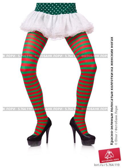 f4ccaf69b701 Изображение «Красно-зеленые полосатые колготки на женских ногах»