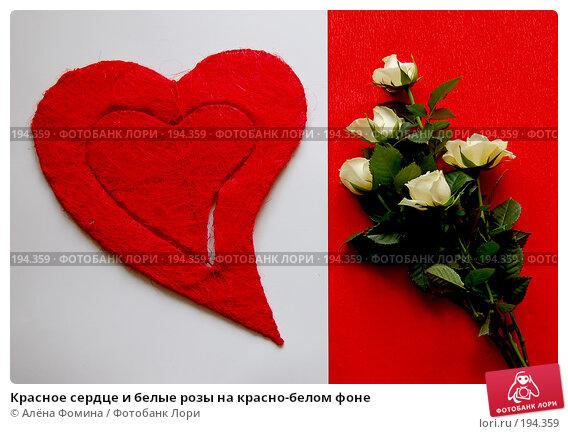 Красное сердце и белые розы на красно-белом фоне, фото № 194359, снято 4 февраля 2008 г. (c) Алёна Фомина / Фотобанк Лори