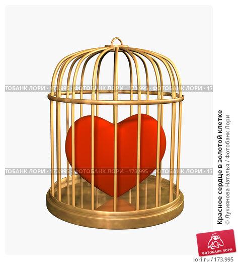 Красное сердце в золотой клетке, иллюстрация № 173995 (c) Лукиянова Наталья / Фотобанк Лори