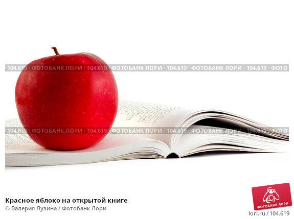 Купить «Красное яблоко на открытой книге», фото № 104619, снято 26 апреля 2018 г. (c) Валерия Потапова / Фотобанк Лори