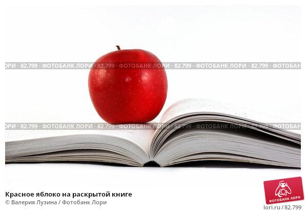 Красное яблокo на раскрытой книге, фото № 82799, снято 9 августа 2007 г. (c) Валерия Потапова / Фотобанк Лори