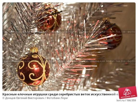 Красные елочные игрушки среди серебристых веток искусственной елки, фото № 166559, снято 5 января 2008 г. (c) Донцов Евгений Викторович / Фотобанк Лори