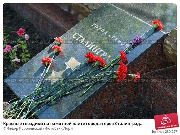 Красные гвоздики на памятной плите города-героя Сталинграда, фото № 280227, снято 9 мая 2008 г. (c) Федор Королевский / Фотобанк Лори
