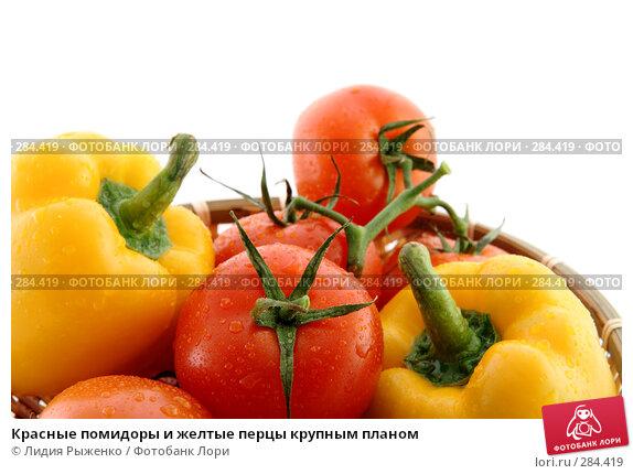 Красные помидоры и желтые перцы крупным планом, фото № 284419, снято 12 мая 2008 г. (c) Лидия Рыженко / Фотобанк Лори