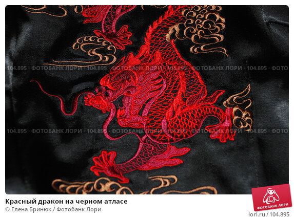 Красный дракон на черном атласе, фото № 104895, снято 23 октября 2016 г. (c) Елена Бринюк / Фотобанк Лори