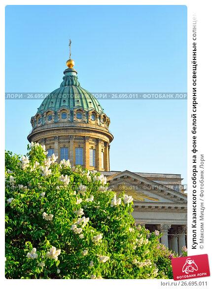 Купить «Купол Казанского собора на фоне белой сирени освещённые солнцем», фото № 26695011, снято 16 июня 2017 г. (c) Максим Мицун / Фотобанк Лори