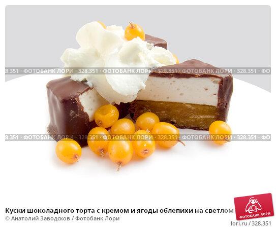 Куски шоколадного торта с кремом и ягоды облепихи на светлом фоне, фото № 328351, снято 12 января 2007 г. (c) Анатолий Заводсков / Фотобанк Лори