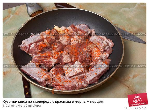 Кусочки мяса на сковороде с красным и черным перцем, фото № 272151, снято 2 марта 2008 г. (c) Corwin / Фотобанк Лори