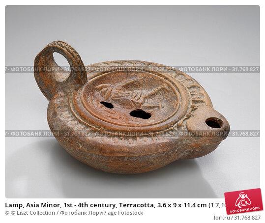 Lamp, Asia Minor, 1st - 4th century, Terracotta, 3.6 x 9 x 11.4 cm (1 7,16 x 3 9,16 x 4 1,2 in.) (2018 год). Редакционное фото, фотограф © Liszt Collection / age Fotostock / Фотобанк Лори