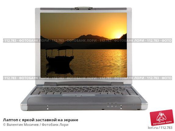 Лаптоп с яркой заставкой на экране, фото № 112783, снято 16 февраля 2007 г. (c) Валентин Мосичев / Фотобанк Лори