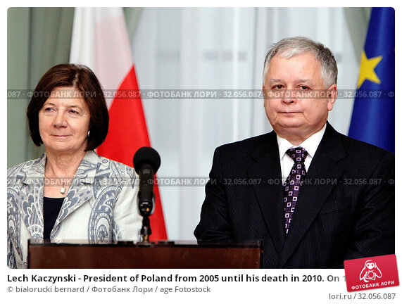 Lech Kaczynski - President of Poland from 2005 until his death in 2010. On 10 April 2010, he died in the crash of a Polish Air Force jet and his wife Maria who died in the same crash. Редакционное фото, фотограф bialorucki bernard / age Fotostock / Фотобанк Лори