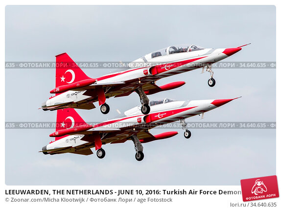 LEEUWARDEN, THE NETHERLANDS - JUNE 10, 2016: Turkish Air Force Demonstration... Стоковое фото, фотограф Zoonar.com/Micha Klootwijk / age Fotostock / Фотобанк Лори