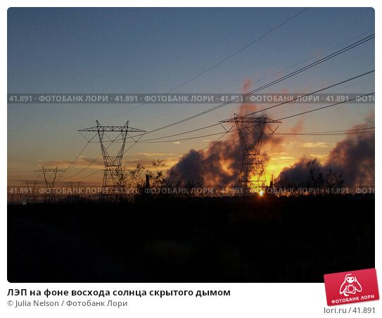 Купить «ЛЭП на фоне восхода солнца скрытого дымом», фото № 41891, снято 27 января 2007 г. (c) Julia Nelson / Фотобанк Лори