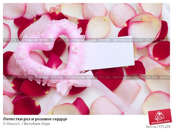 Лепестки роз и розовое сердце, фото № 171275, снято 20 февраля 2017 г. (c) Ольга С. / Фотобанк Лори