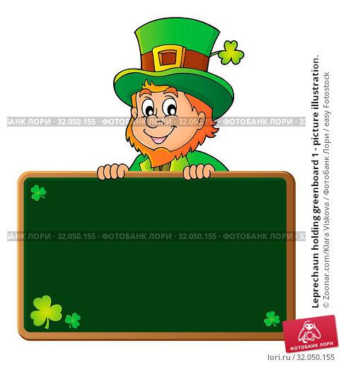 Leprechaun holding greenboard 1 - picture illustration. Стоковое фото, фотограф Zoonar.com/Klara Viskova / easy Fotostock / Фотобанк Лори