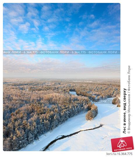 Лес в инее, вид сверху. Стоковое фото, фотограф Владимир Мельников / Фотобанк Лори