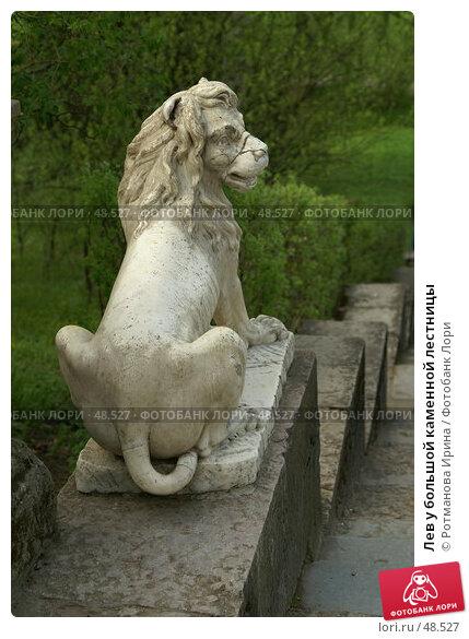 Лев у большой каменной лестницы, фото № 48527, снято 20 мая 2007 г. (c) Ротманова Ирина / Фотобанк Лори