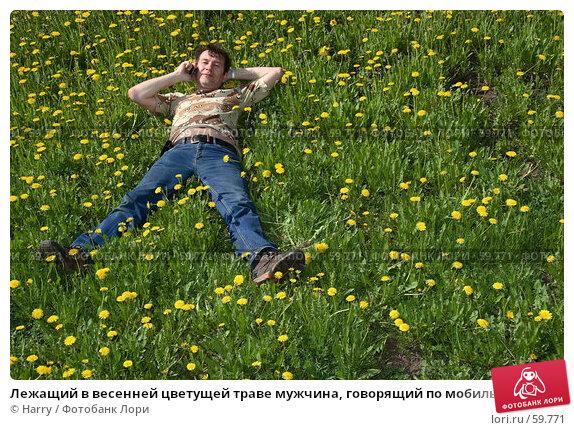 Лежащий в весенней цветущей траве мужчина, говорящий по мобильному телефону, фото № 59771, снято 23 июня 2005 г. (c) Harry / Фотобанк Лори