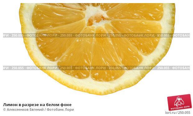 Лимон в разрезе на белом фоне, фото № 250055, снято 15 марта 2008 г. (c) Алексеенков Евгений / Фотобанк Лори
