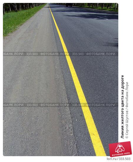 Линия желтого цвета на дороге, эксклюзивное фото № 333503, снято 23 июня 2017 г. (c) Сергей Шустов / Фотобанк Лори