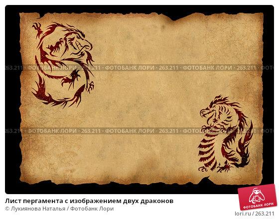 Лист пергамента с изображением двух драконов, иллюстрация № 263211 (c) Лукиянова Наталья / Фотобанк Лори
