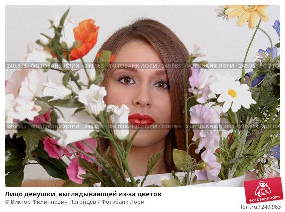 Купить «Лицо девушки, выглядывающей из-за цветов», фото № 240963, снято 14 ноября 2004 г. (c) Виктор Филиппович Погонцев / Фотобанк Лори