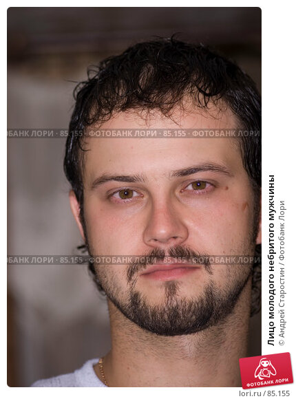 Лицо молодого небритого мужчины, фото № 85155, снято 19 августа 2007 г. (c) Андрей Старостин / Фотобанк Лори