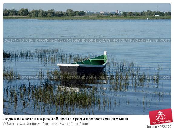 Лодка качается на речной волне среди проростков камыша, фото № 262179, снято 18 июня 2004 г. (c) Виктор Филиппович Погонцев / Фотобанк Лори