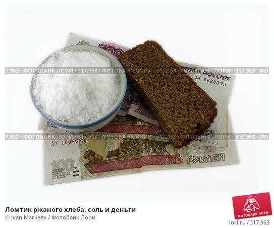 Ломтик ржаного хлеба, соль и деньги, фото № 317963, снято 10 июня 2008 г. (c) Василий Каргандюм / Фотобанк Лори