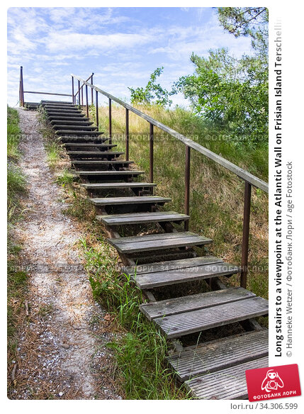 Long stairs to a viewpoint at the Atlantic Wall on Frisian Island Terschelling, built by the Germans during the WOII as an extraordinarily extensive defence structure. The Netherlands, Europe. Стоковое фото, фотограф Hanneke Wetzer / age Fotostock / Фотобанк Лори