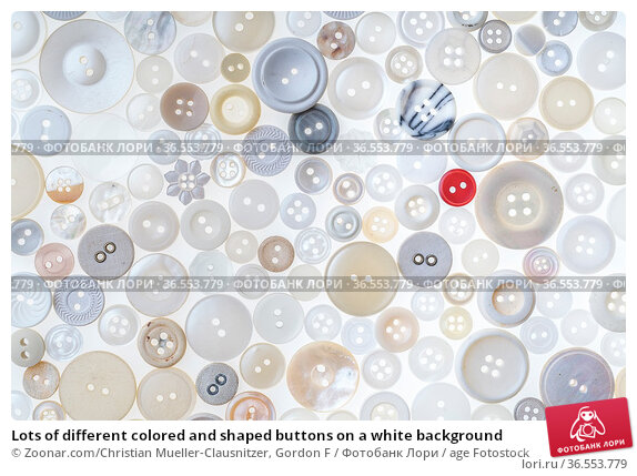 Lots of different colored and shaped buttons on a white background. Стоковое фото, фотограф Zoonar.com/Christian Mueller-Clausnitzer, Gordon F / age Fotostock / Фотобанк Лори