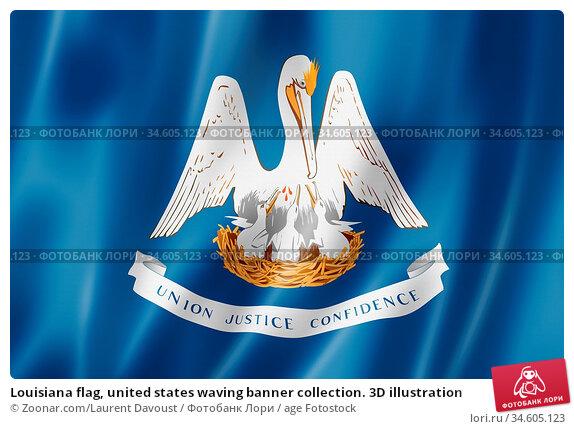 Louisiana flag, united states waving banner collection. 3D illustration. Стоковое фото, фотограф Zoonar.com/Laurent Davoust / age Fotostock / Фотобанк Лори