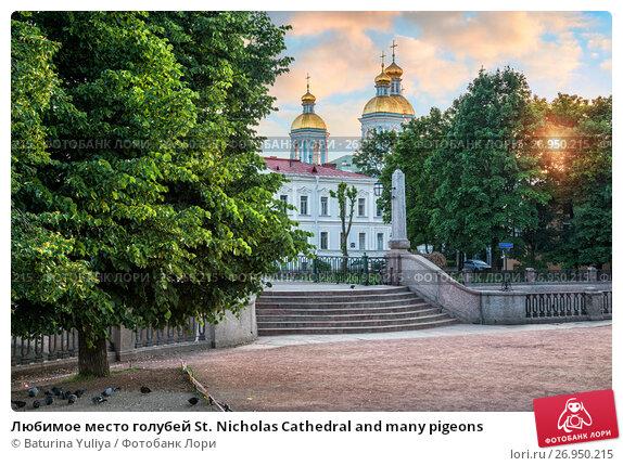Купить «Любимое место голубей St. Nicholas Cathedral and many pigeons», фото № 26950215, снято 11 июля 2017 г. (c) Baturina Yuliya / Фотобанк Лори
