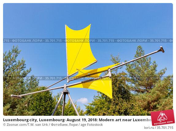 Luxembourg city, Luxembourg- August 19, 2018: Modern art near Luxembourg... Стоковое фото, фотограф Zoonar.com/T.W. van Urk / age Fotostock / Фотобанк Лори