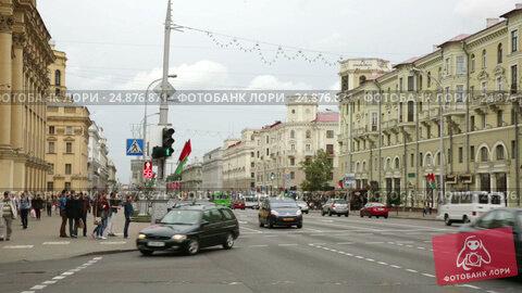 Купить «Main transport artery of Minsk», видеоролик № 24876871, снято 3 сентября 2016 г. (c) Яков Филимонов / Фотобанк Лори