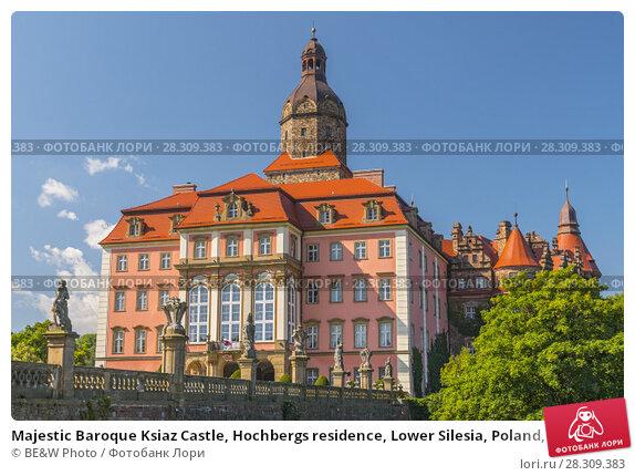 Купить «Majestic Baroque Ksiaz Castle, Hochbergs residence, Lower Silesia, Poland, Europe», фото № 28309383, снято 11 декабря 2018 г. (c) BE&W Photo / Фотобанк Лори