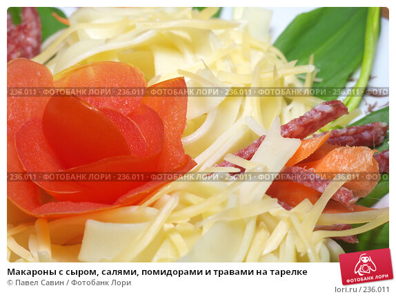 Купить «Макароны с сыром, салями, помидорами и травами на тарелке», фото № 236011, снято 15 декабря 2017 г. (c) Павел Савин / Фотобанк Лори