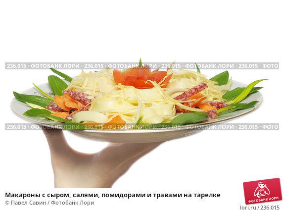 Макароны с сыром, салями, помидорами и травами на тарелке, фото № 236015, снято 3 декабря 2016 г. (c) Павел Савин / Фотобанк Лори