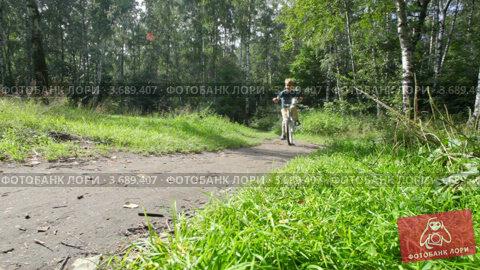 Мальчик едет на велосипеде по лесу, видеоролик № 3689407, снято 14 мая 2010 г. (c) Losevsky Pavel / Фотобанк Лори
