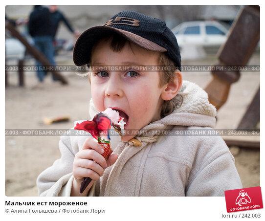 Мальчик ест мороженое, эксклюзивное фото № 242003, снято 26 мая 2017 г. (c) Алина Голышева / Фотобанк Лори