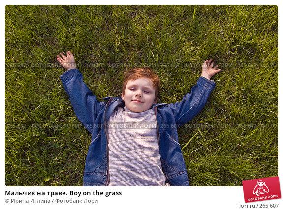 Мальчик на траве. Boy on the grass, фото № 265607, снято 28 апреля 2008 г. (c) Ирина Иглина / Фотобанк Лори