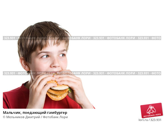 Мальчик, поедающий гамбургер, фото № 323931, снято 28 мая 2008 г. (c) Мельников Дмитрий / Фотобанк Лори