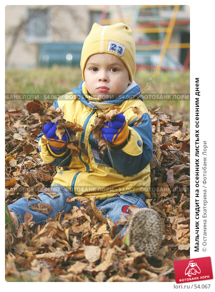 Мальчик сидит на осенних листьях осенним днем, фото № 54067, снято 18 октября 2005 г. (c) Останина Екатерина / Фотобанк Лори