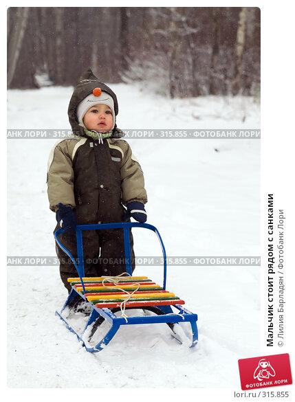 Мальчик стоит рядом с санками, фото № 315855, снято 20 января 2008 г. (c) Лилия Барладян / Фотобанк Лори