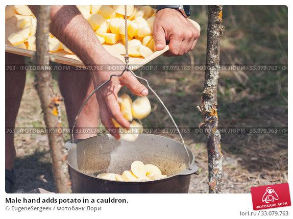 Купить «Male hand adds potato in a cauldron.», фото № 33079763, снято 14 июля 2019 г. (c) EugeneSergeev / Фотобанк Лори