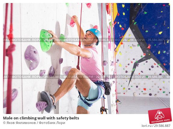 Купить «Male on climbing wall with safety belts», фото № 29586887, снято 9 июля 2018 г. (c) Яков Филимонов / Фотобанк Лори