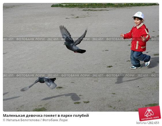 Маленькая девочка гоняет в парке голубей, фото № 282651, снято 10 мая 2008 г. (c) Наталья Белотелова / Фотобанк Лори